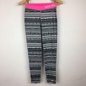 NIKE PRO Pattern Leggings Warm Stretchy Cute